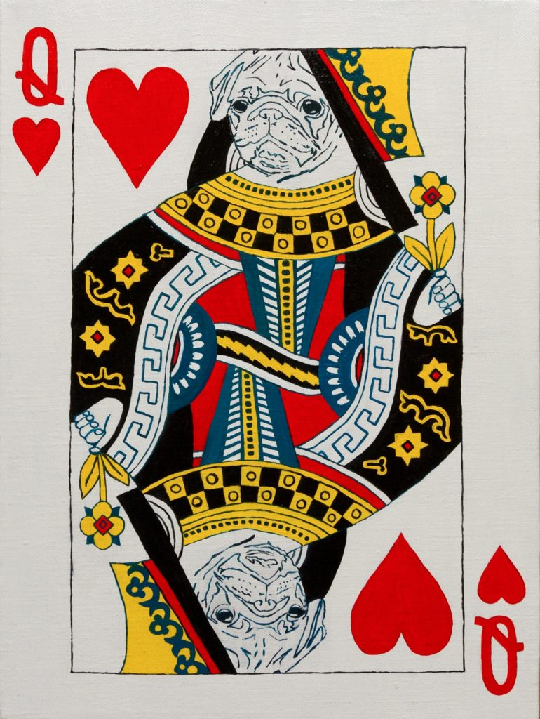 Yuliia Ustymenko - Queen of hearts. Pug. Playing card