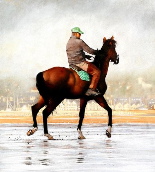 Brian Halton - Horse and Rider, Deauville Beach