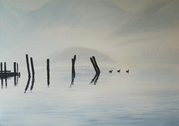 Coralie Foster - Geese on a misty Derwent Water