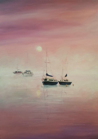 Coralie Foster - Misty dawn boats on lake