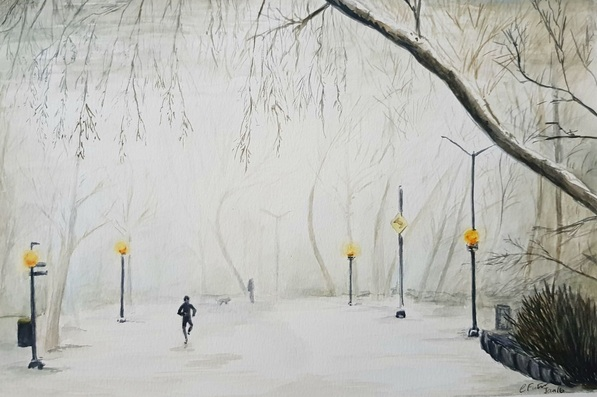 Coralie Foster - Running in snow and fog