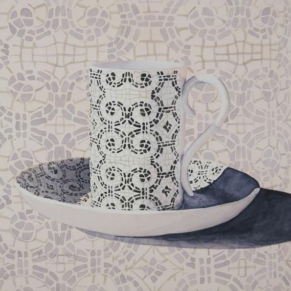 Krystyna Szczepanowski - Portrait of a pink Portuguese coffee cup