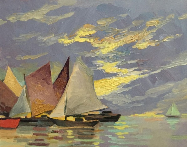 Rod Norman - Sailboats at End of Day