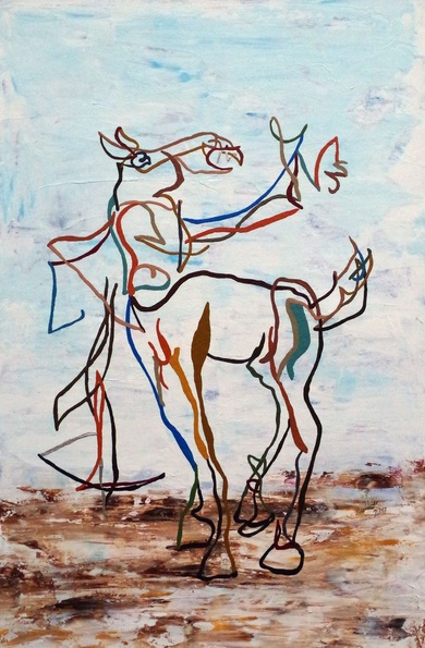Uli Lächelt - Self portrait as centaur with crossbow