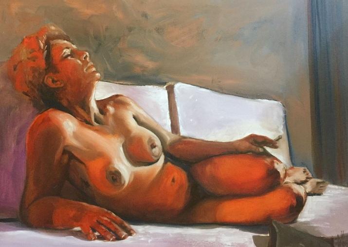 Özlem Kögel - lying nude with cigarette