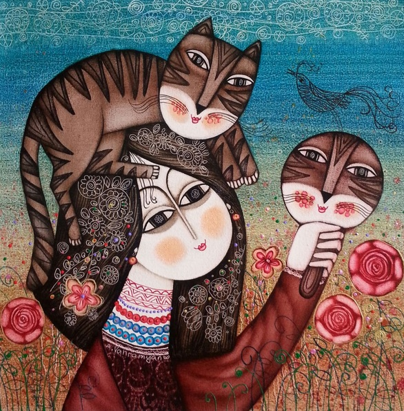 Armen Vahramyan - Girl and cat