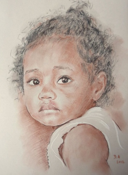 Danielle ARNAL - Individual portrait in pencil