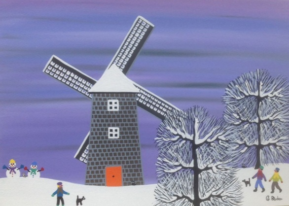 Gordon Barker - A snowy day at the windmill