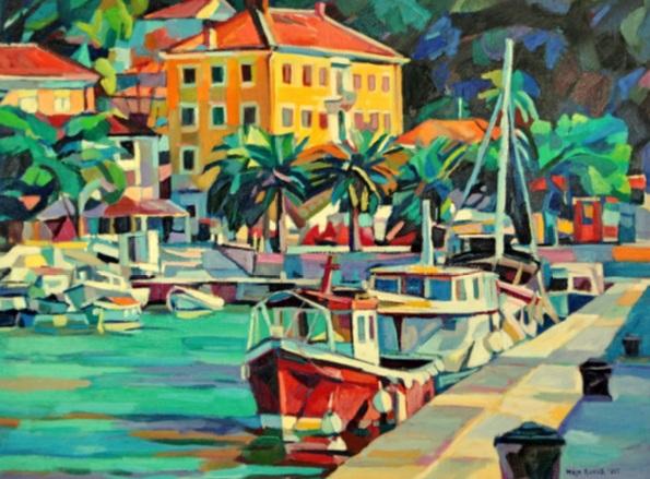 Maja Đokić Mihajlović - Red boat at marina