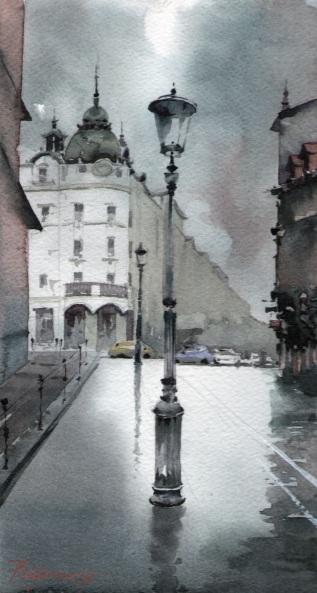 Milan Pluzarev - Lamp on Miklošičeva street in Ljubljana