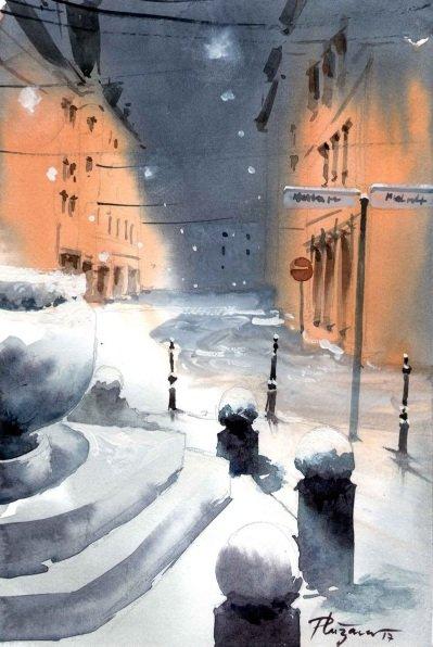Milan-Pluzarev-Stritarjeva-snowy-street-in-Ljublja