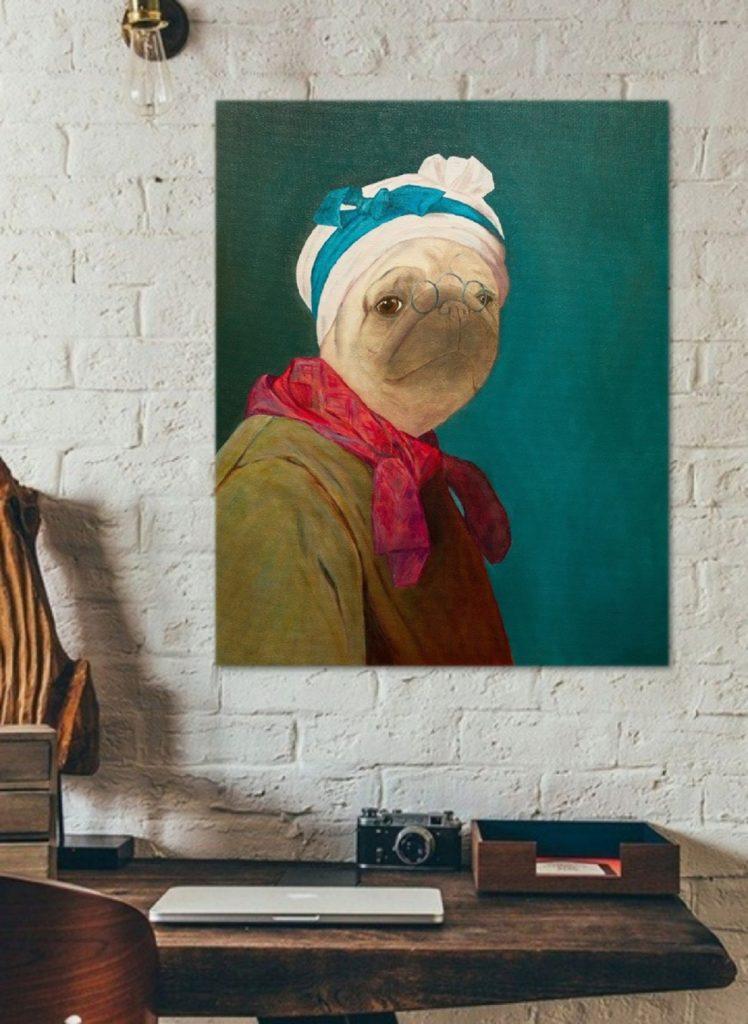 Yuliia Ustymenko-Wombart - Pugdin-Self-portrait. Home interior