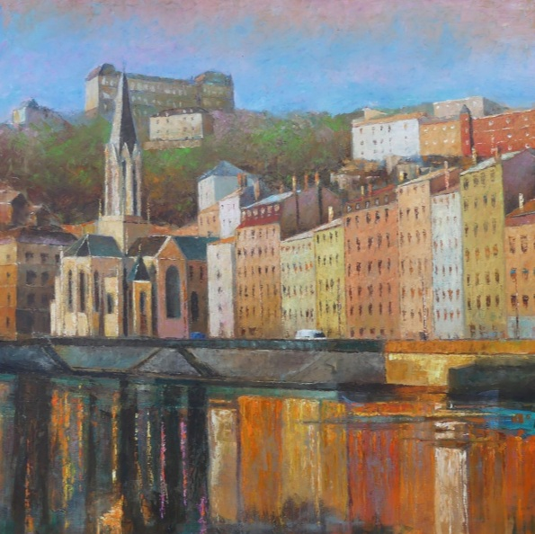 Alain Briant - River Saône in Lyon city with Saint Georges church