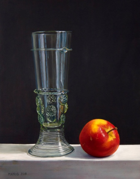 Mayrig Simonjan - Still life with glass roemer and apple