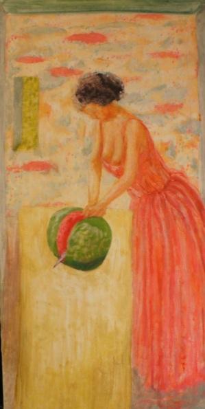 Roland F A McMorran - Woman Cutting Melon Clothed
