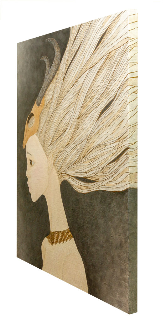 Yuliia Ustymenko - Wind in Her Hair. Side view