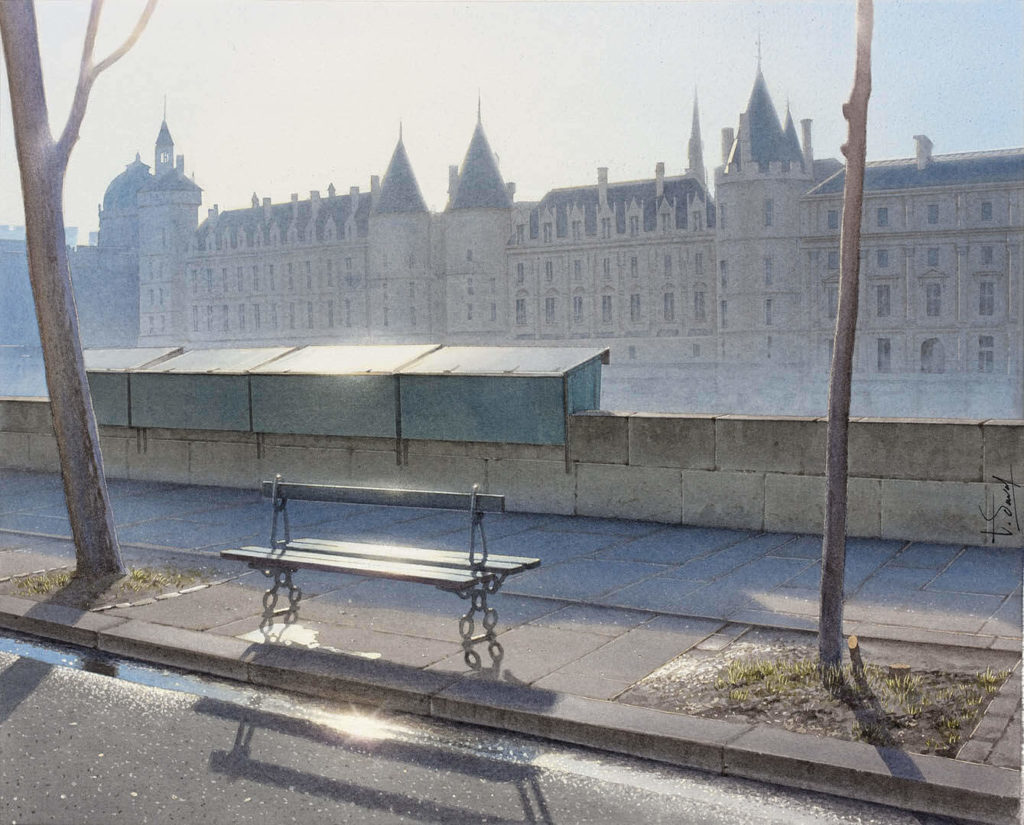 Thierry Duval - A bench under the sun of Paris after the rain