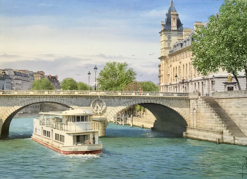 Thierry Duval - The barge and the Saint Michel Bridge