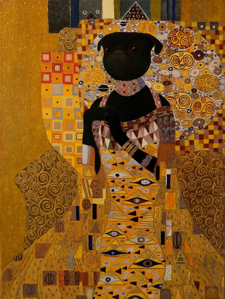 """Lady Helen"" by Yuliia Ustymenko. Oil pug portrait. Inspired by Gustav Klimt"