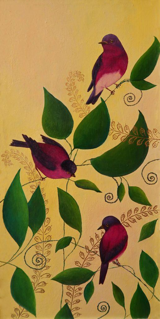 Yuliia Ustymenko - Birds of paradise. Oil painting