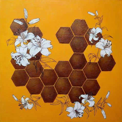 Yuliia Ustymenko - Flower honey. Abstract oil painting