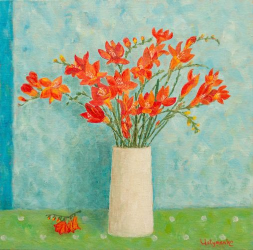 Yuliia Ustymenko - Freesias bouquet. Spring flowers. Oil painting.